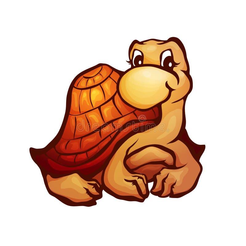 Wektorowa ilustracja żółw w kreskówka stylu royalty ilustracja
