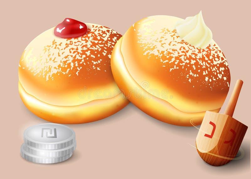 Wektorowa ilustracja żydowski wakacyjny Hanukkah ilustracja wektor