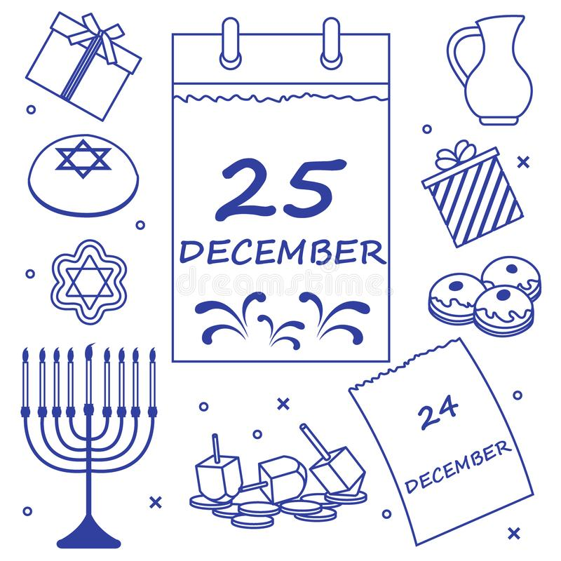 Wektorowa ilustracja: Żydowski wakacyjny Hanukkah: kalendarz, prezenty, d ilustracji
