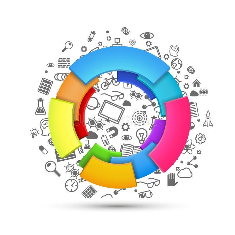 Wektorowa ilustracja abstrakcjonistyczna kolorowa 3d tęcza, loga projekt, wiele ikona royalty ilustracja