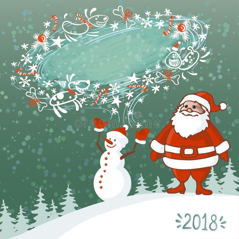 Wektorowa ilustracja Abstrakcjonistyczny Bożenarodzeniowy kartka z pozdrowieniami z bałwanem, Święty Mikołaj i miecielica, gulgoc royalty ilustracja