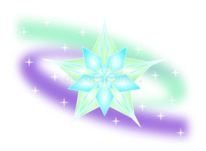 Wektorowa ilustracja abstrakcjonistyczny lodowy kryształ, lodowy kwiat, lód gwiazda i abstrakcjonistyczni północni światła odizol royalty ilustracja