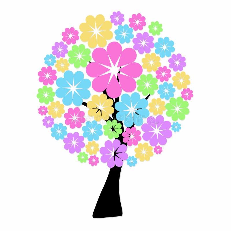 Wektorowa ilustracja abstrakcjonistyczny okwitnięcie kwiatu drzewo na białym bac ilustracja wektor