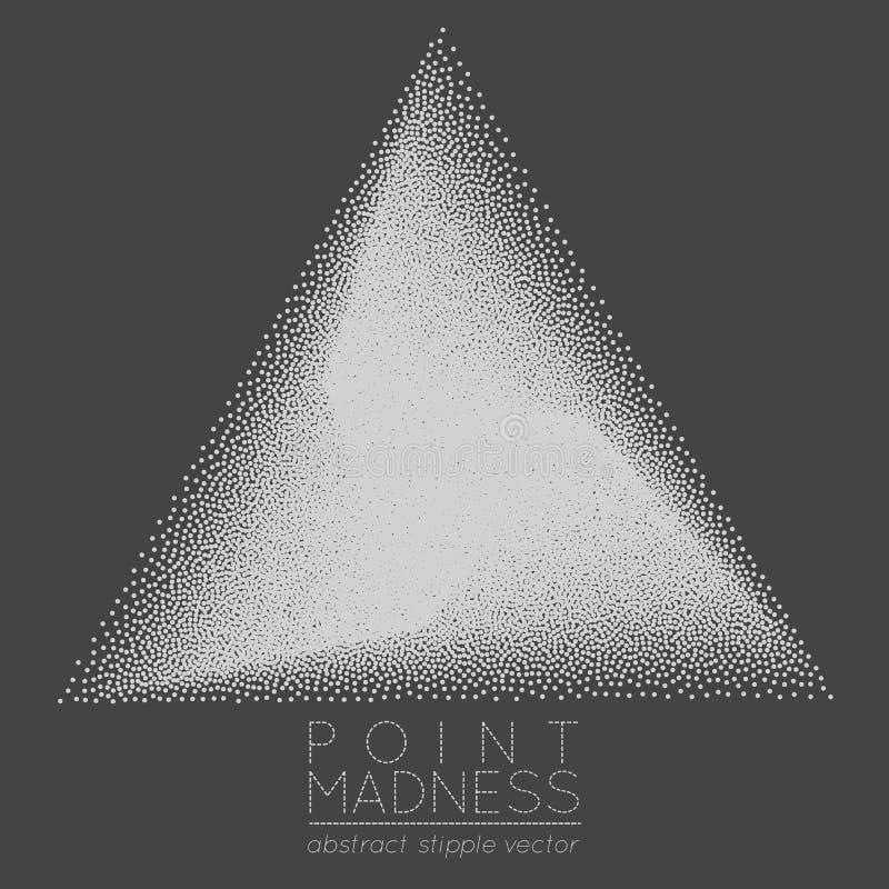Wektorowa ilustracja abstrakt kropkował symbol delty fading outside Święty geometria znak robić w stippling technikę royalty ilustracja