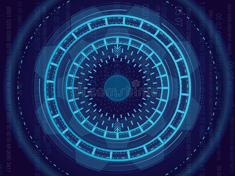 Wektorowa ilustracja abstrakt, lekki okrąg technologii pojęcie Obwód deska, wysoki komputerowy koloru tło ilustracji