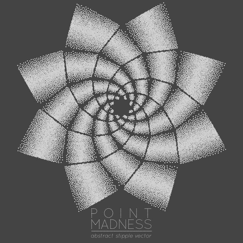 Wektorowa ilustracja abstrakta symbolu kropkowani phyllotaxis Święty geometria znak robić w stippling technikę royalty ilustracja