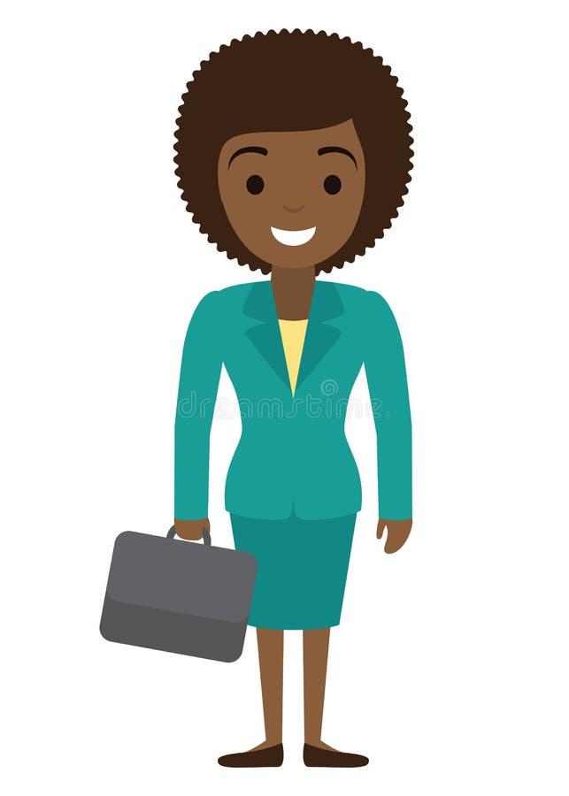 Wektorowa ilustracja afro amerykański bizneswomanu charakter z skrzynką w mieszkaniu s royalty ilustracja
