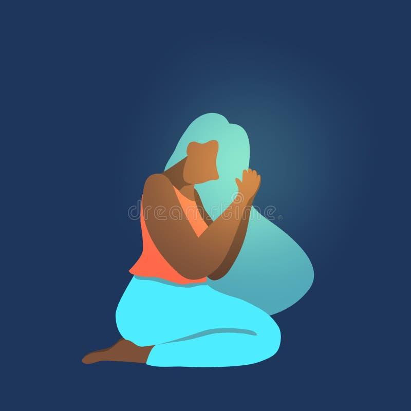 Wektorowa ilustracja afro amerykański wooman modlenie, royalty ilustracja