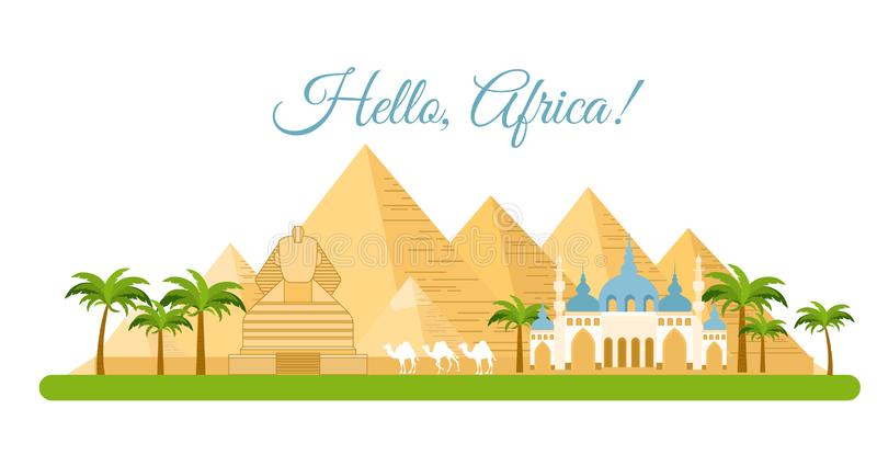 Wektorowa ilustracja Afryka podróży pojęcie Ostrosłupa symbol Egipt, tło Afryka, turystyka i podróżować, Cześć, royalty ilustracja