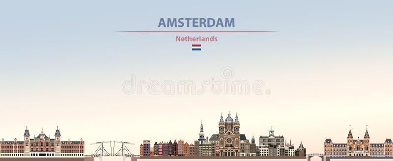 Wektorowa ilustracja Amsterdam miasta linia horyzontu na kolorowym gradientowym pięknym dnia czasu tle ilustracja wektor