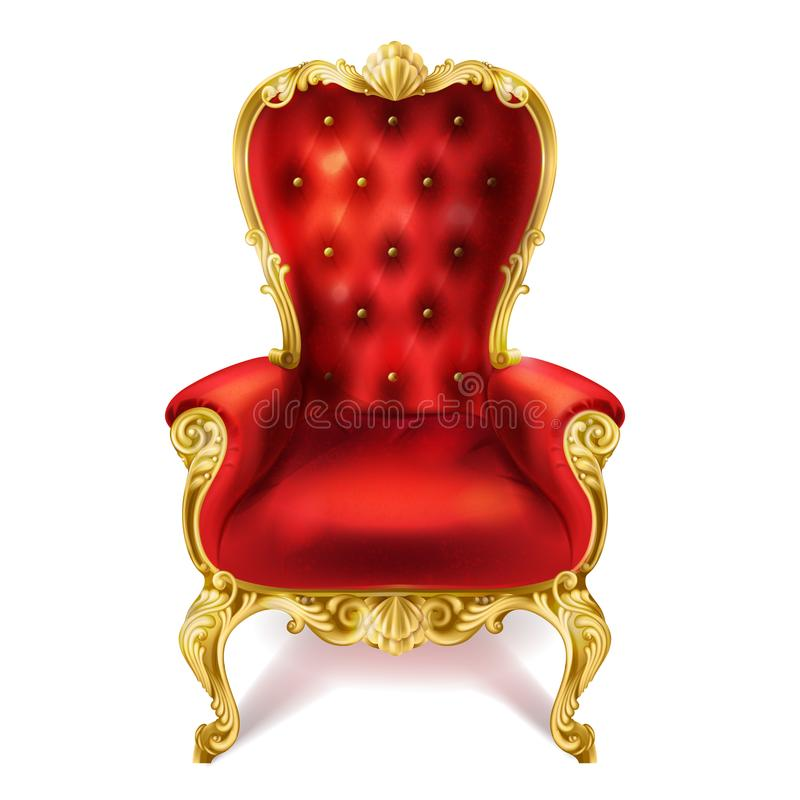 Wektorowa ilustracja antyczny czerwony królewski tron royalty ilustracja