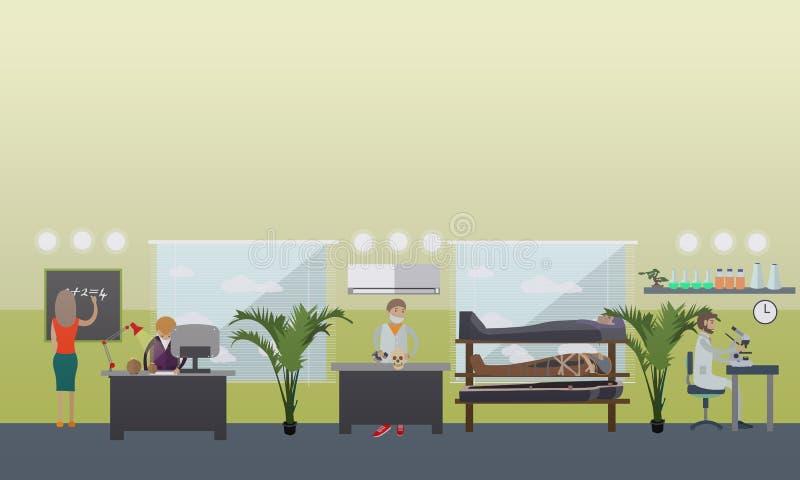 Wektorowa ilustracja archeologiczny laboratorium, archeolodzy i wyposażenie, mieszkanie styl royalty ilustracja