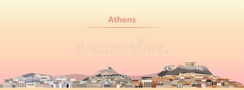 Wektorowa ilustracja Ateny linia horyzontu przy wschodem słońca royalty ilustracja