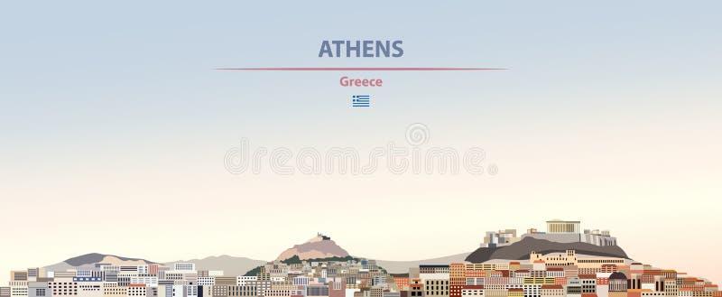 Wektorowa ilustracja Ateny miasta linia horyzontu na kolorowym gradientowym pięknym dziennym tle royalty ilustracja
