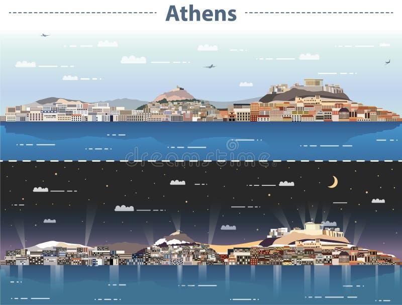Wektorowa ilustracja Ateny miasta linia horyzontu przy dniem i nocą ilustracja wektor