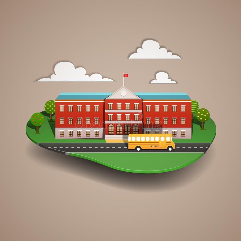 Wektorowa ilustracja autobus szkolny przy szkołą papieru cięcia styl ilustracja wektor