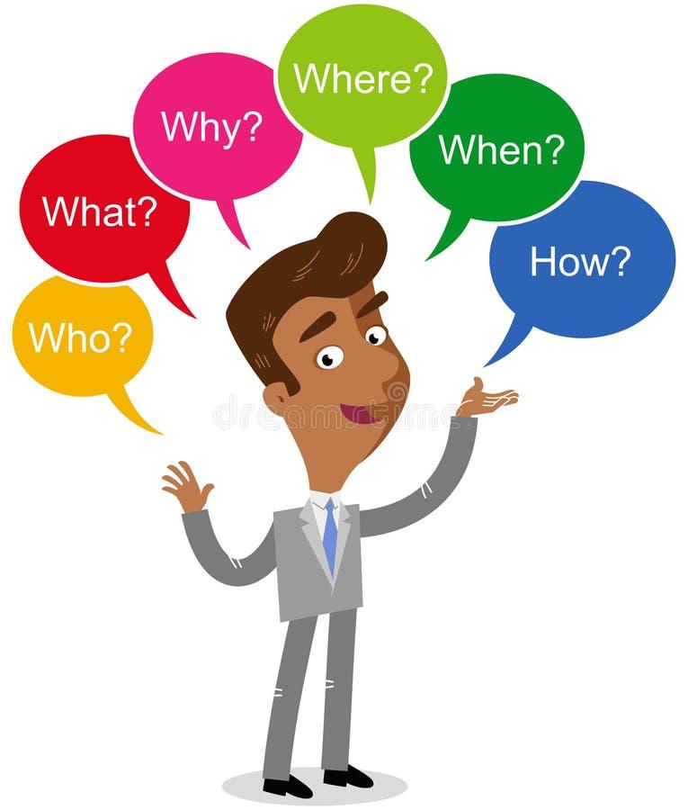 Wektorowa ilustracja azjatykci kreskówka biznesmen z kolorową mową gulgocze pytać czego, dokąd, co, jak, dlaczego, gdy ilustracji