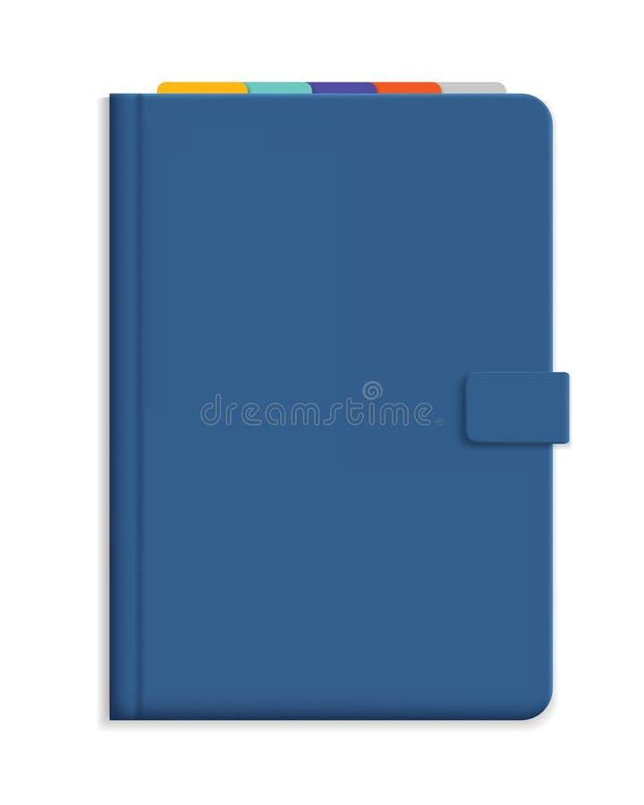Wektorowa ilustracja błękitny dzienniczek z ciężką pokrywą i kolorowym b ilustracja wektor