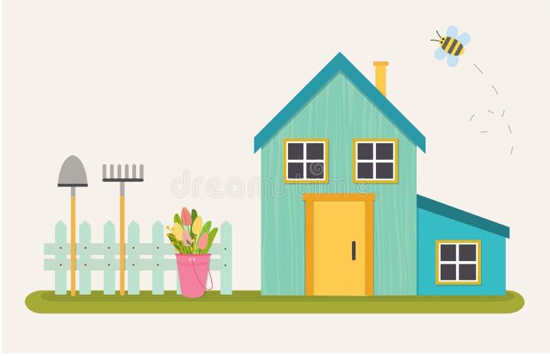 Wektorowa ilustracja błękitny uroczy dom ilustracji