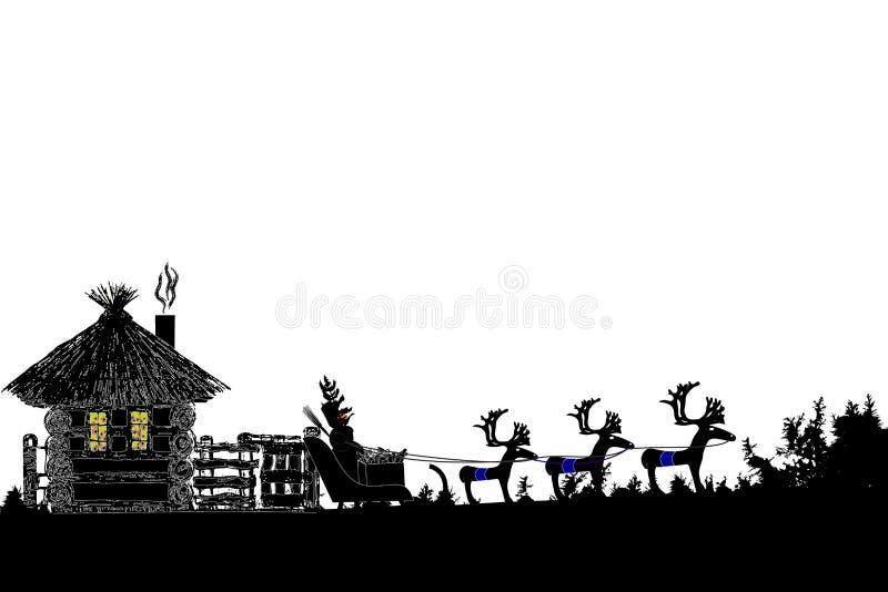 Wektorowa ilustracja bałwanu obsiadanie w saniu Wesoło boże narodzenia i Szczęśliwy nowy rok royalty ilustracja