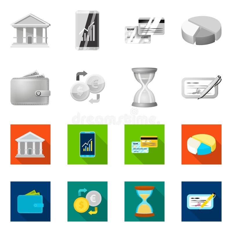 Wektorowa ilustracja banka i pieniądze ikona Set banka i rachunku akcyjny symbol dla sieci royalty ilustracja