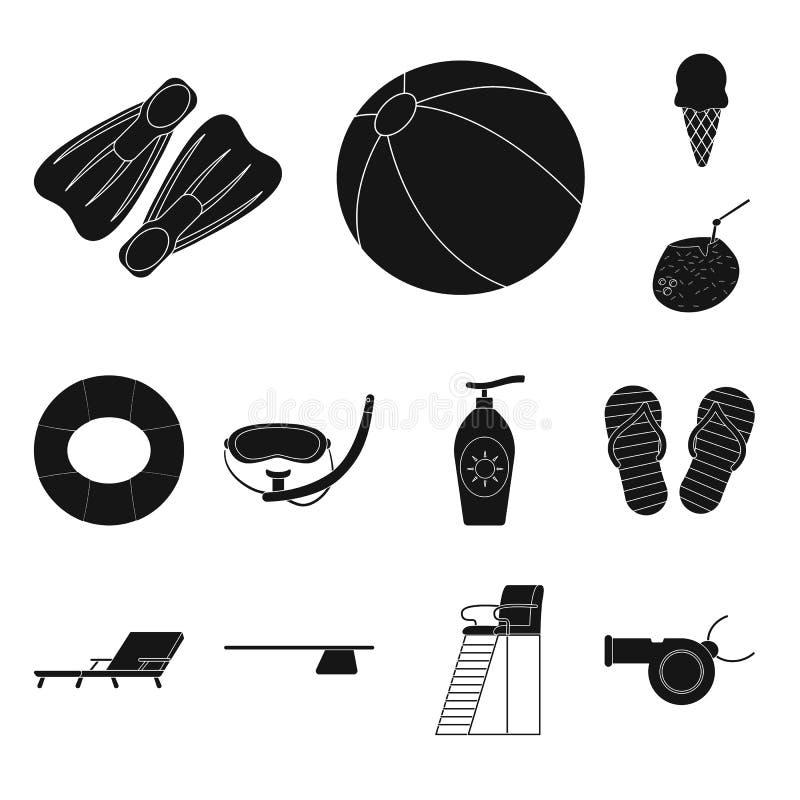 Wektorowa ilustracja basen i pływacki logo Set basenu i aktywności akcyjny symbol dla sieci ilustracji