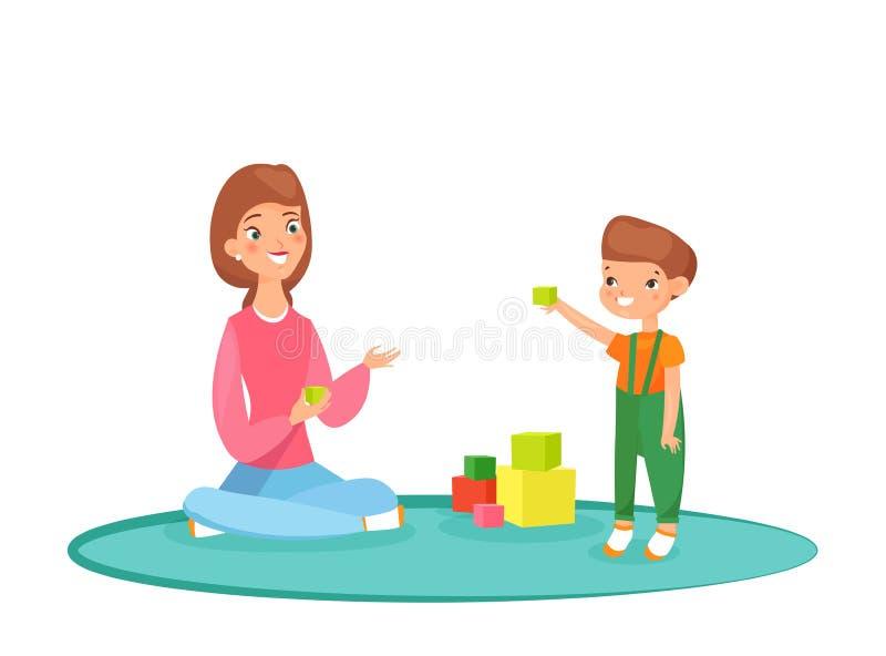 Wektorowa ilustracja bawi? si? bloki z jej synem na dywanie mama Bawi? si? w domu, czas z rodzin?, niania z dzieciakiem royalty ilustracja