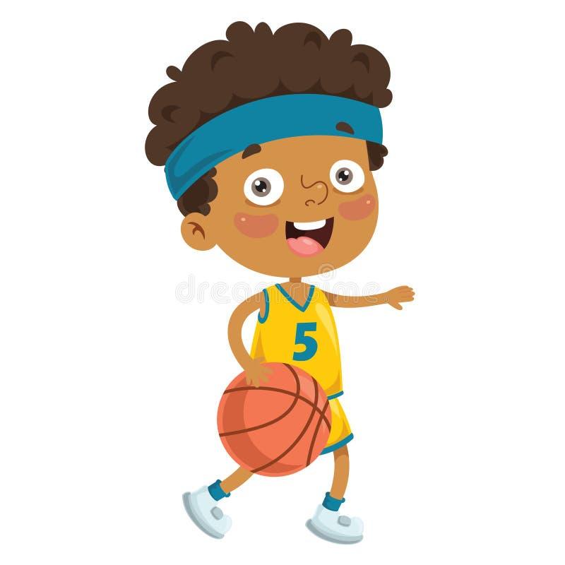 Wektorowa ilustracja Bawić się koszykówkę dzieciak ilustracja wektor