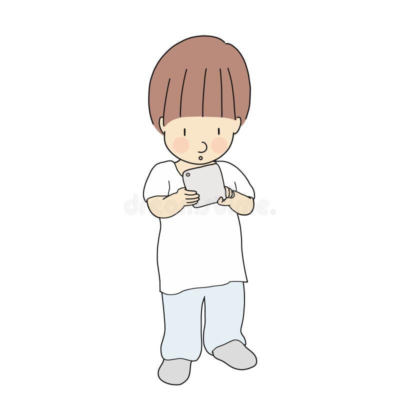 Wektorowa ilustracja bawić się smartphone lub pastylkę małe dziecko Medialny nałogu problem, cyfrowy pokolenie, technologii pojęc royalty ilustracja