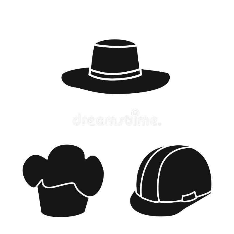 Wektorowa ilustracja beanie i bereta ikona Set beanie i je?arki akcyjny symbol dla sieci ilustracja wektor