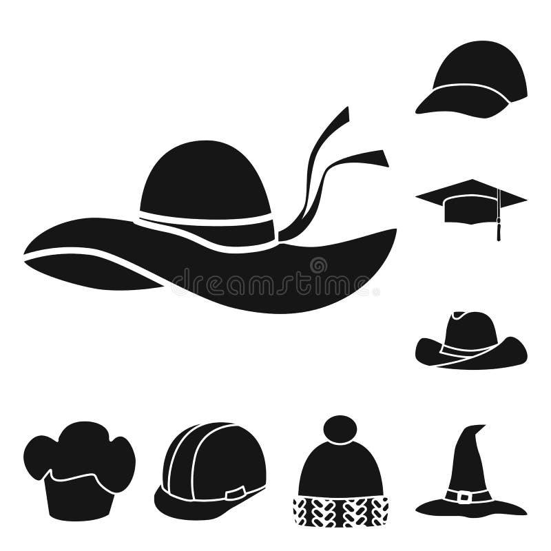 Wektorowa ilustracja beanie i bereta symbol Set beanie i je?arki akcyjny symbol dla sieci royalty ilustracja