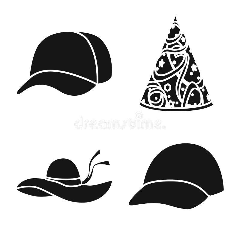 Wektorowa ilustracja beanie i bereta symbol Set beanie i je?arki wektorowa ikona dla zapasu royalty ilustracja