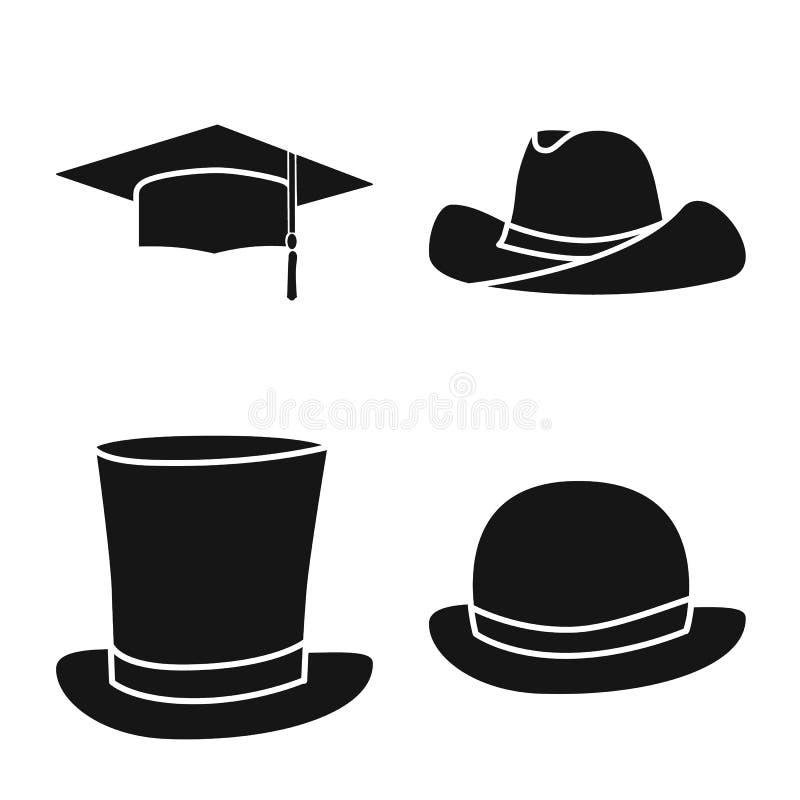 Wektorowa ilustracja beanie i bereta znak Set beanie i je?arki akcyjny symbol dla sieci ilustracja wektor