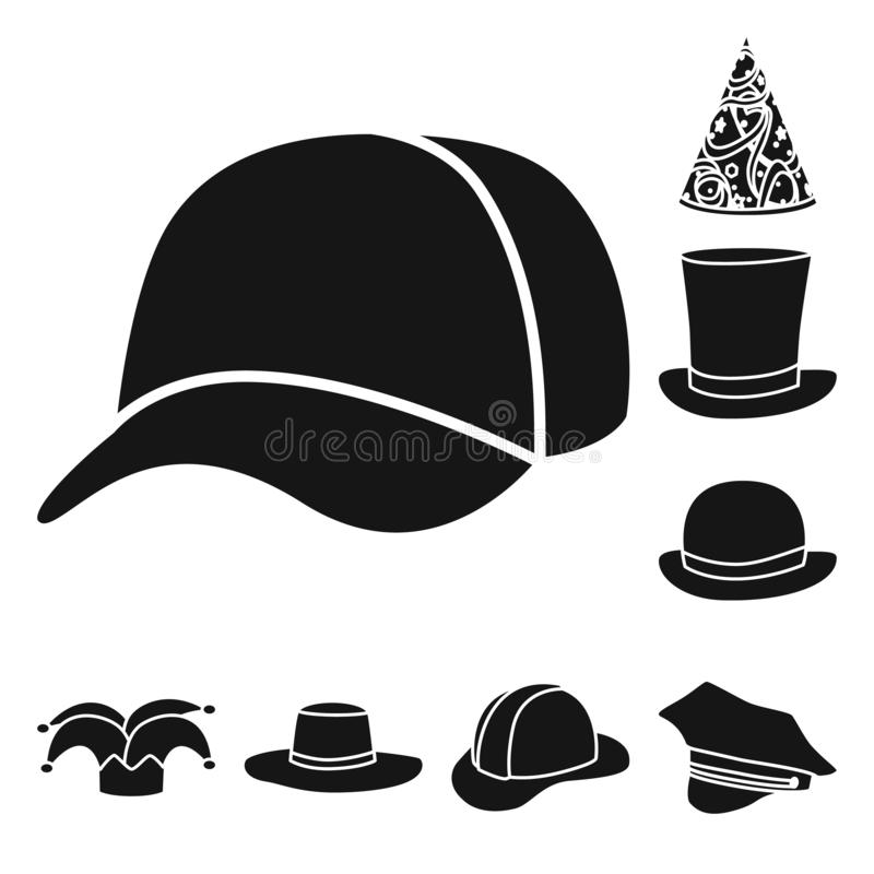 Wektorowa ilustracja beanie i bereta znak Set beanie i je?arki wektorowa ikona dla zapasu ilustracja wektor