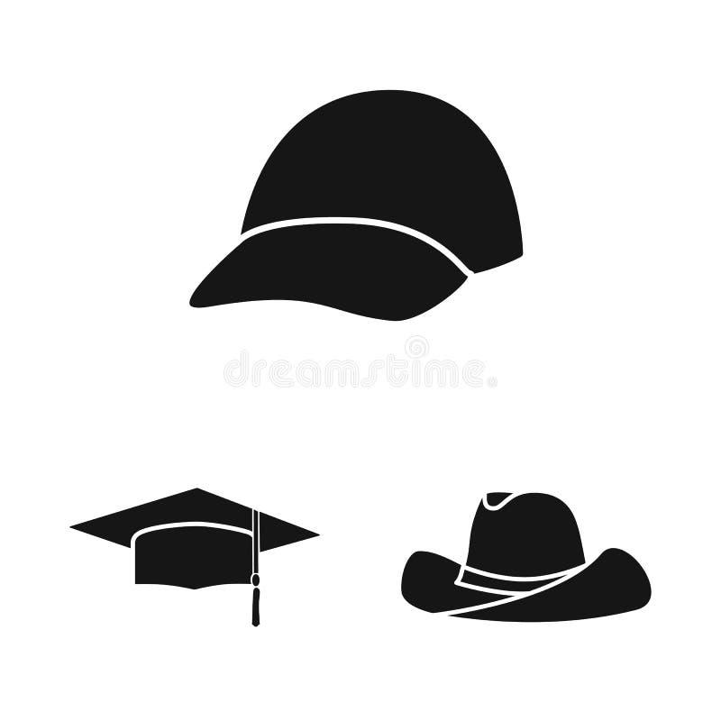 Wektorowa ilustracja beanie i bereta znak Set beanie i je?arki wektorowa ikona dla zapasu ilustracji
