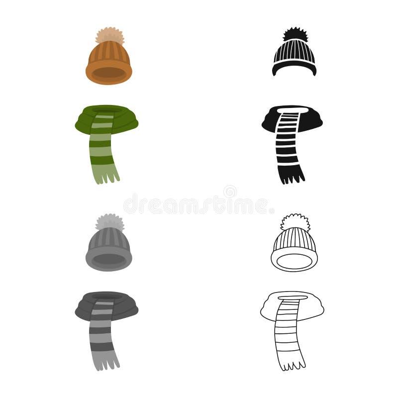 Wektorowa ilustracja beanie i szalika logo Kolekcja beanie i nakr?tki wektorowa ikona dla zapasu royalty ilustracja