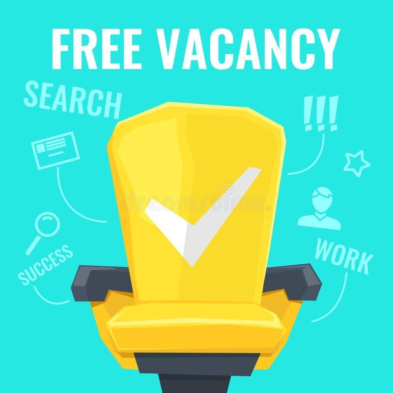 Wektorowa ilustracja bezpłatny wakat z żółtym krzesło pracownikiem rewizja i rysunkami, istota ludzka, powiększa - szkło ilustracji
