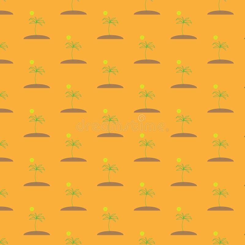 Wektorowa ilustracja bezszwowy wizerunek bezszwowy wzór zielone palmy na brown wyspie z słońcem na pomarańczowym backgroun royalty ilustracja