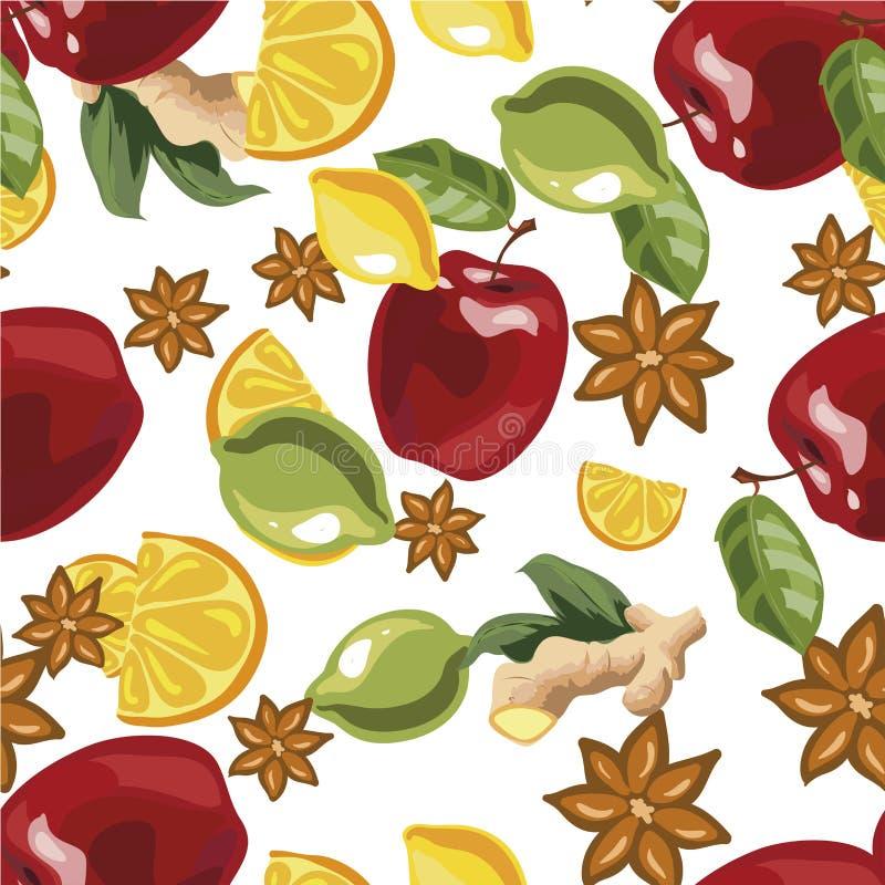 Wektorowa ilustracja bezszwowy wzór z pikantność i składnikami dla rozmyślającego wina ilustracja wektor