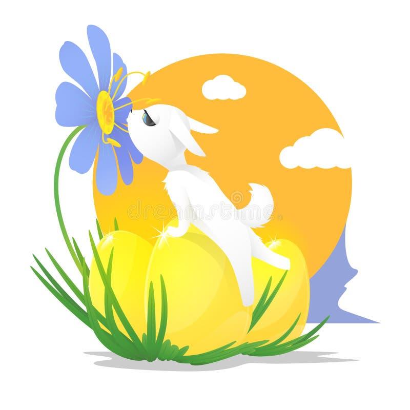 Wektorowa ilustracja biały królik i trzy jajka dla wielkanocy ilustracja wektor