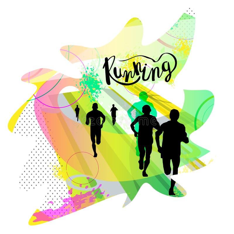 Wektorowa ilustracja bieg ludzie Plakat dla maratonu ilustracja wektor