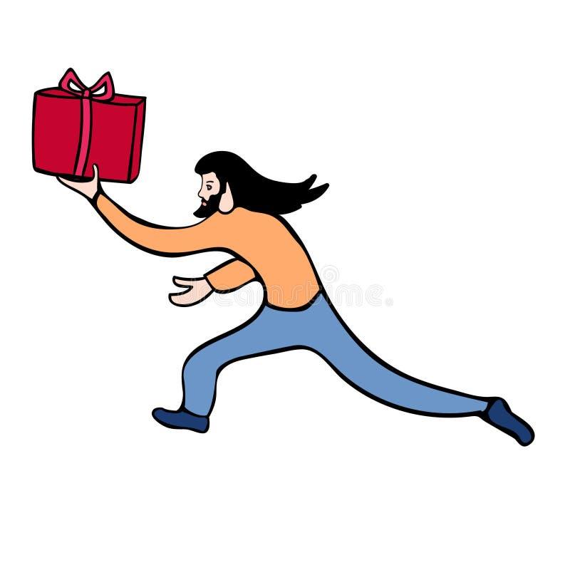 Wektorowa ilustracja bieg mężczyzna z dużym czerwieni pudełkiem z prezentem Jaskrawy projekta element Używa jako majcher, dekorac royalty ilustracja