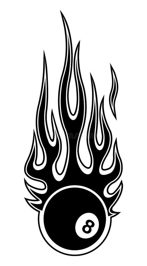 Wektorowa ilustracja billiards gromadzi snookeru 8 piłkę z płomieniami ilustracja wektor