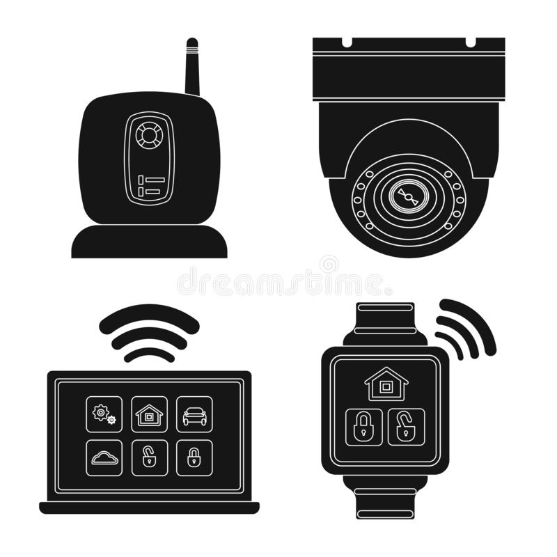 Wektorowa ilustracja biura i domu ikona Kolekcja biura i systemu akcyjny symbol dla sieci ilustracja wektor