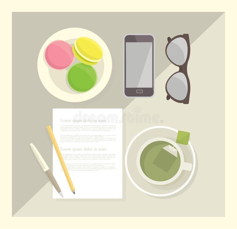 Wektorowa ilustracja biurowe dostawy, herbata i macarons, ilustracja wektor