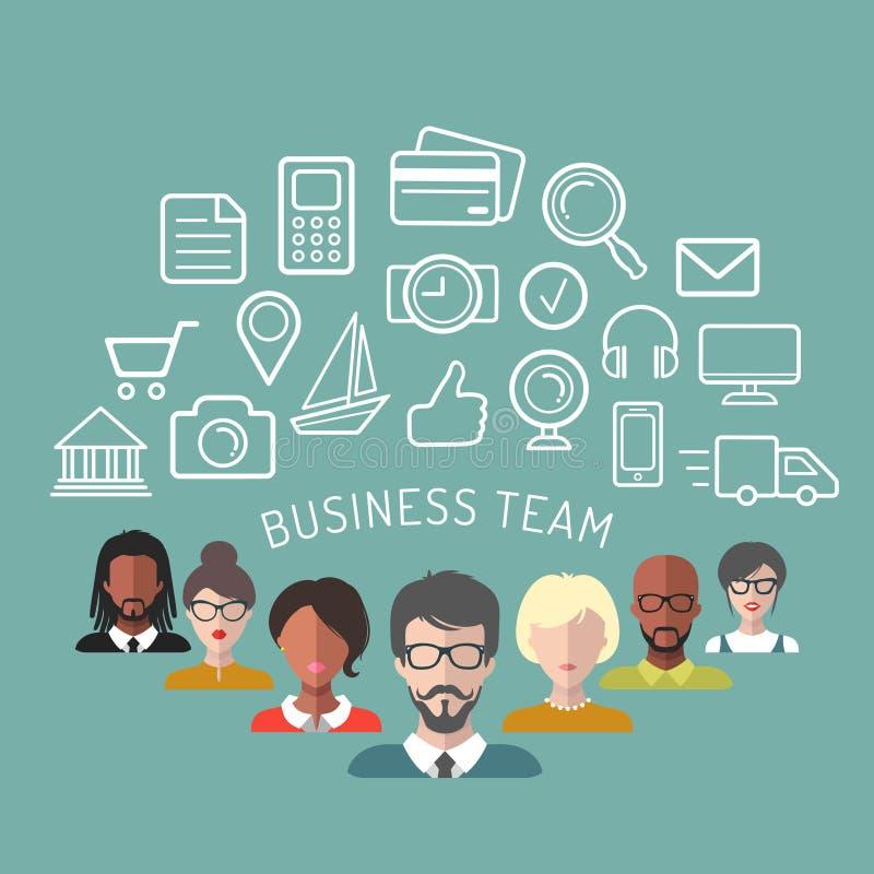 Wektorowa ilustracja biznes drużyny zarządzanie w mieszkanie stylu ilustracji