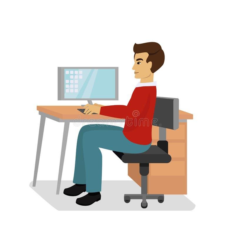 Wektorowa ilustracja biznesmen przy biurkiem z laptopem odizolowywającymi na białym tle w płaskiej kreskówce działaniem i royalty ilustracja