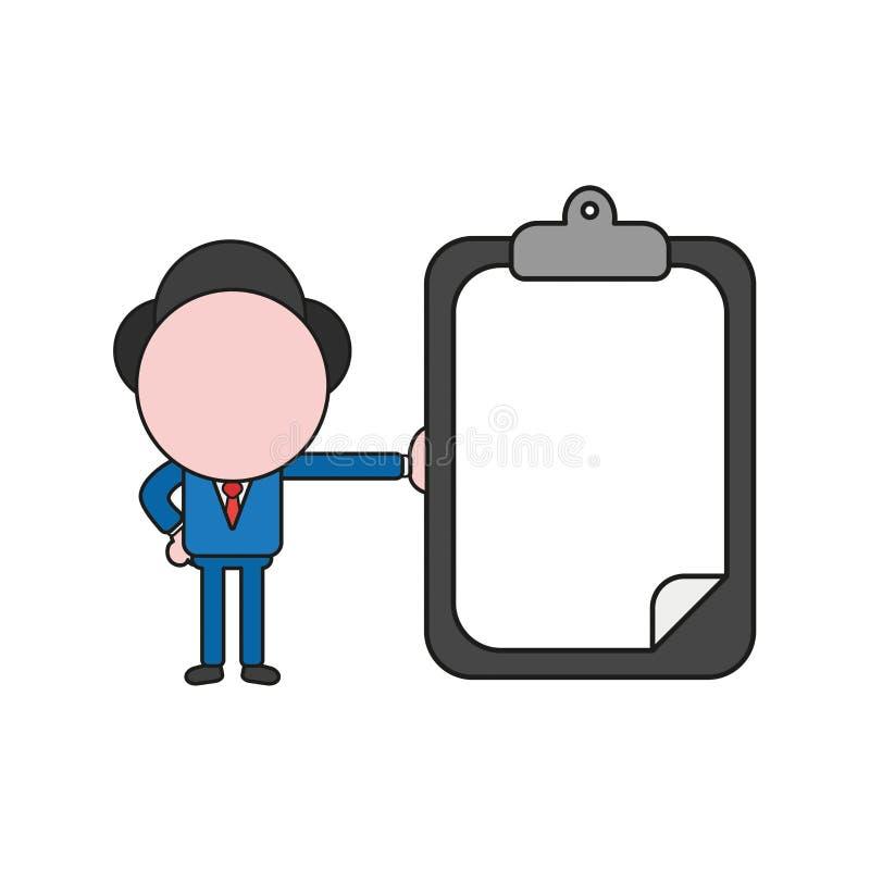 Wektorowa ilustracja biznesmena charakteru mienia schowek w ilustracja wektor