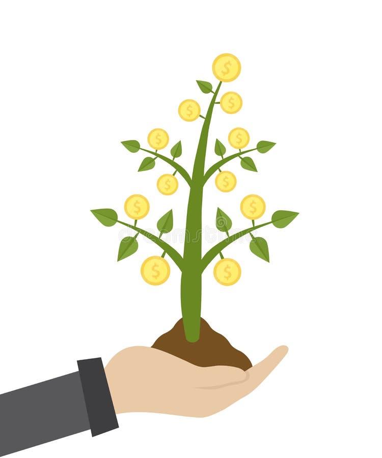 Wektorowa ilustracja biznesmena chwyta pieniądze drzewo w ręce Zielona roślina z monetami r z garść ziemi ilustracja wektor