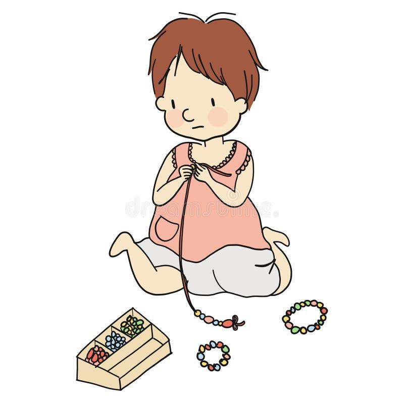 Wektorowa ilustracja blednąć z kolorowymi koralikami małe dziecko ilustracja wektor